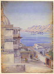 Pichola lake and island of Jagmandir, Udaipur. 'Decr. 1878'